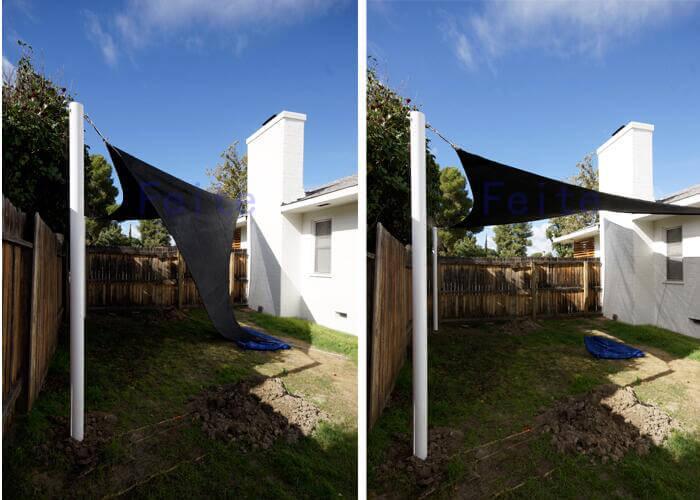 Sunsail Carport Swimming Pool Sun Shade Sail installing steps-6